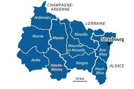 Carte -région Grand Est