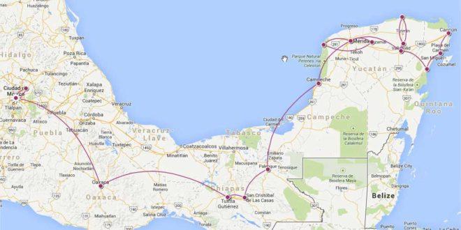 Mexique-Voyage - Itinéraire