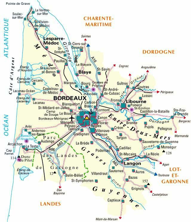 carte détaillée - département-33-gironde