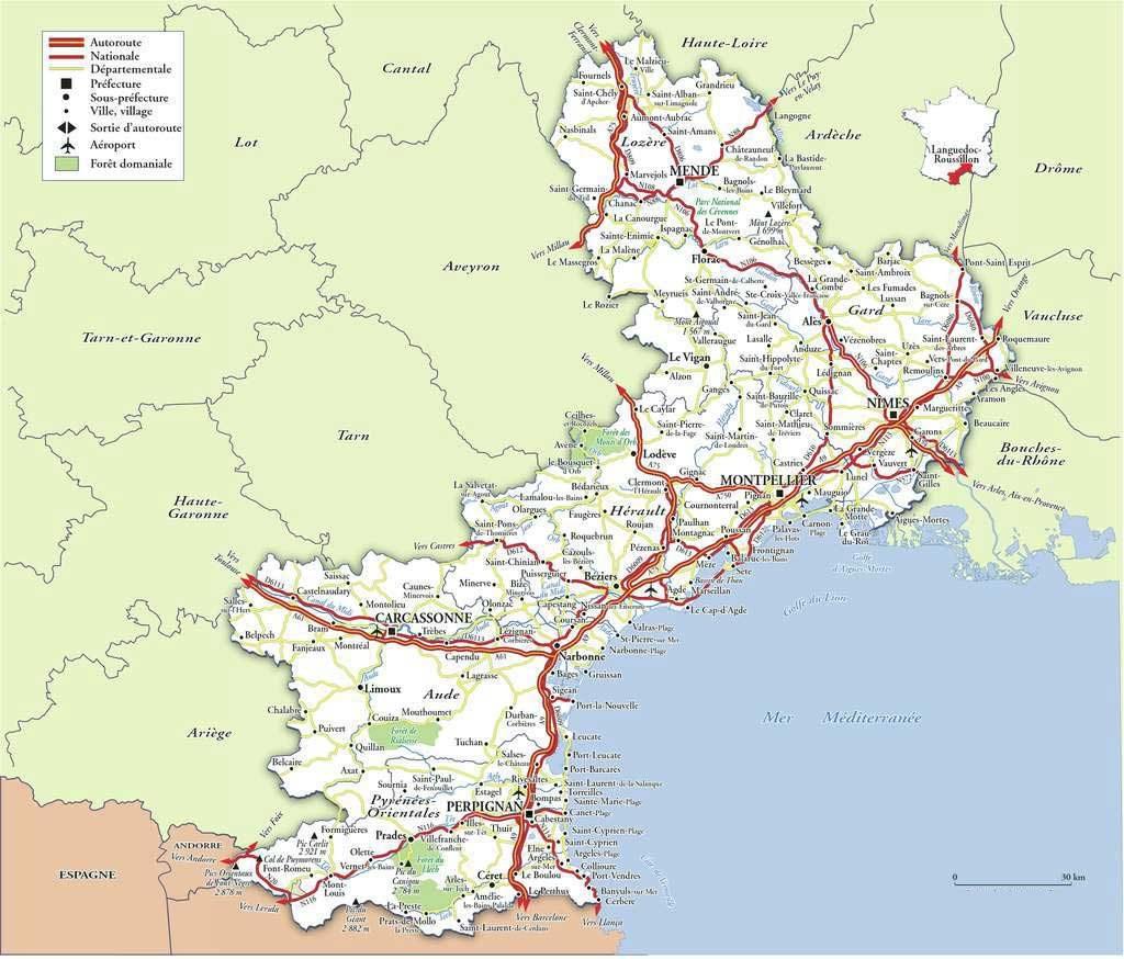 Carte du Languedoc-Roussillon