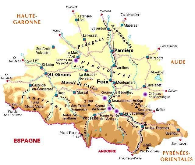 Carte du département 09 - Ariège