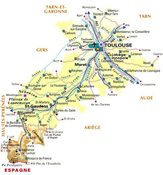 Carte Haute Garonne