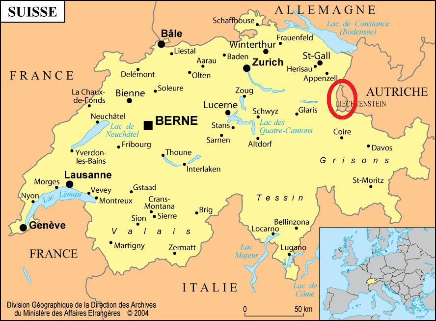 Liechtenstein avec Carte suisse