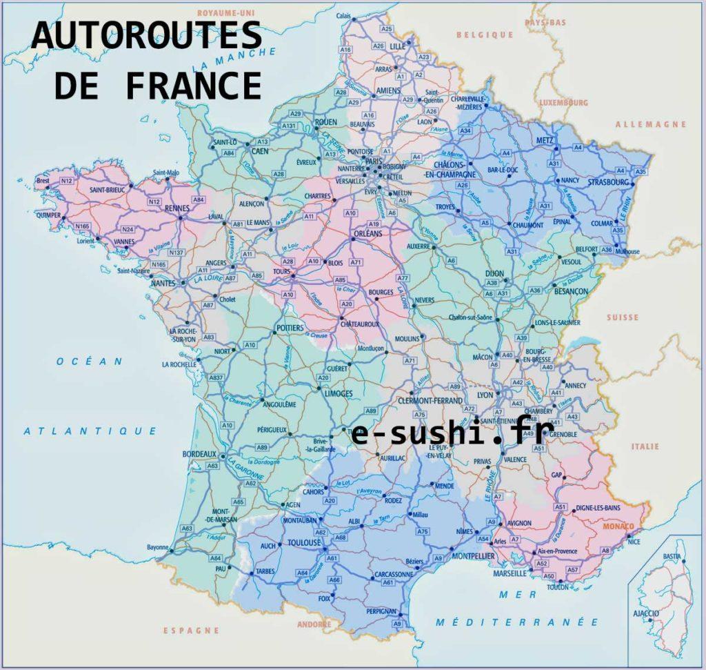 Autoroutes carte de France