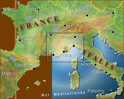 carte géographique france-italie