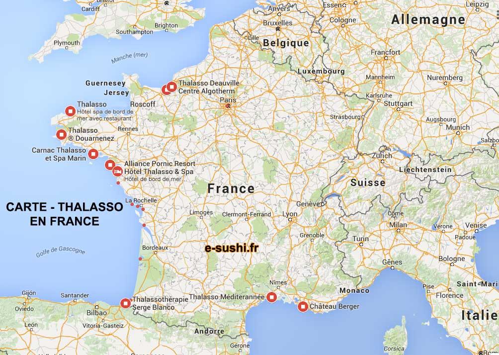 Carte des thalasso en france arts et voyages for Carte des hotels en france