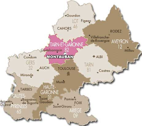 carte de Montauban - midi-pyrenees