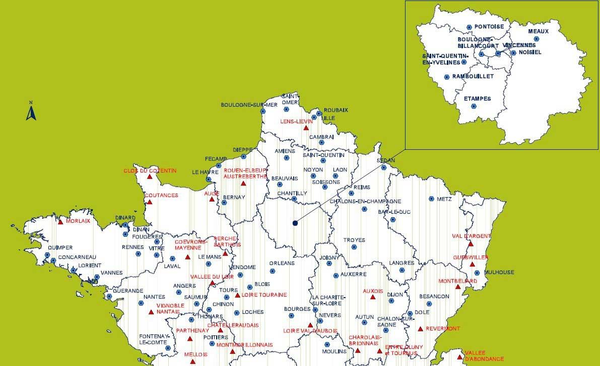 carte du nord avec les villes