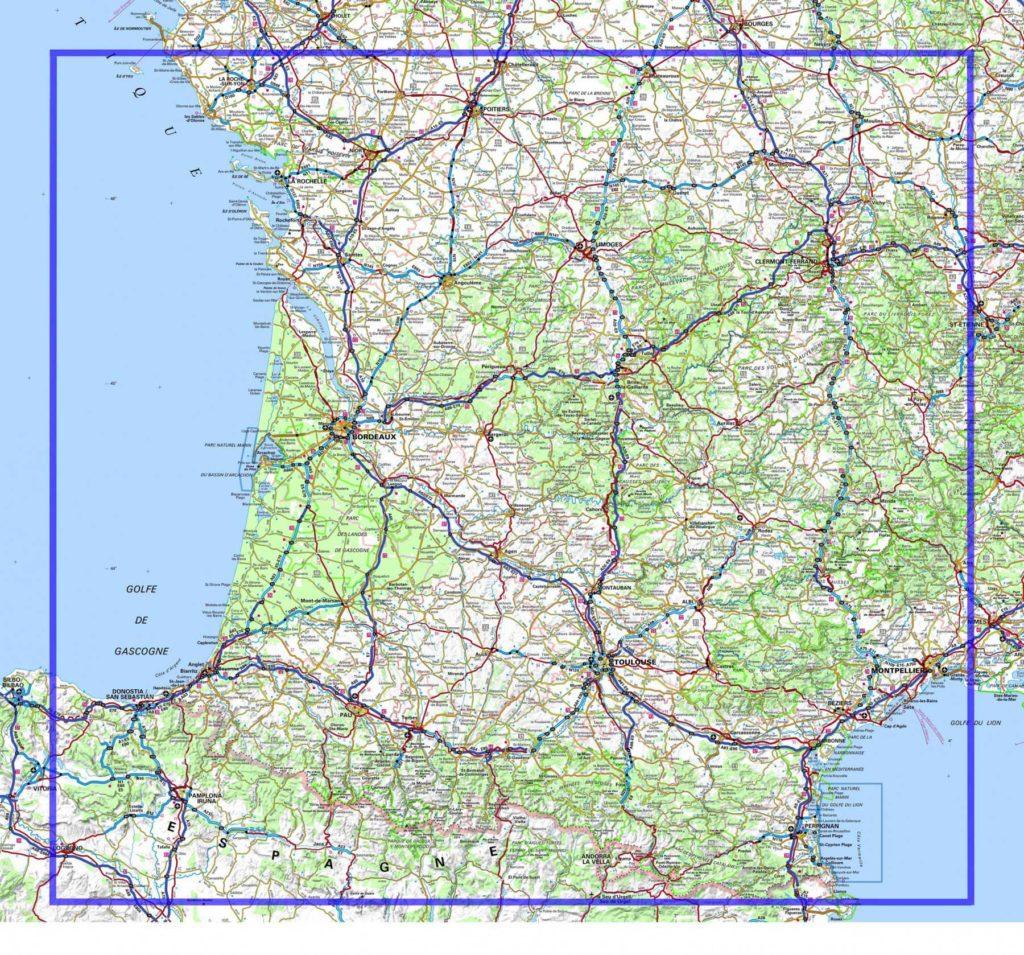 Carte routière du Sud Ouest