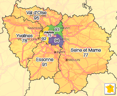 carte de paris et ile de france