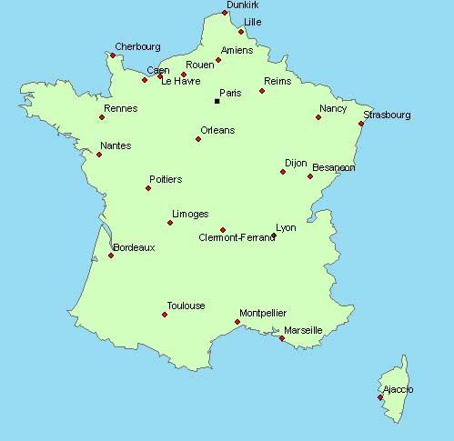 Carte de France des villes