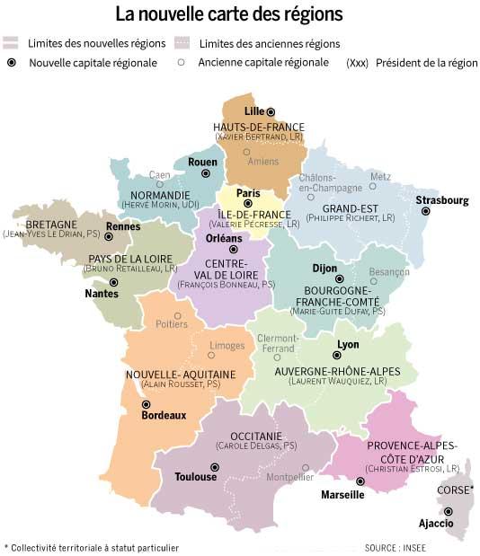 Carte des nouvelles régions françaises