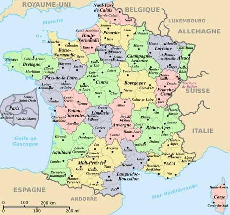La carte de France avec ses régions