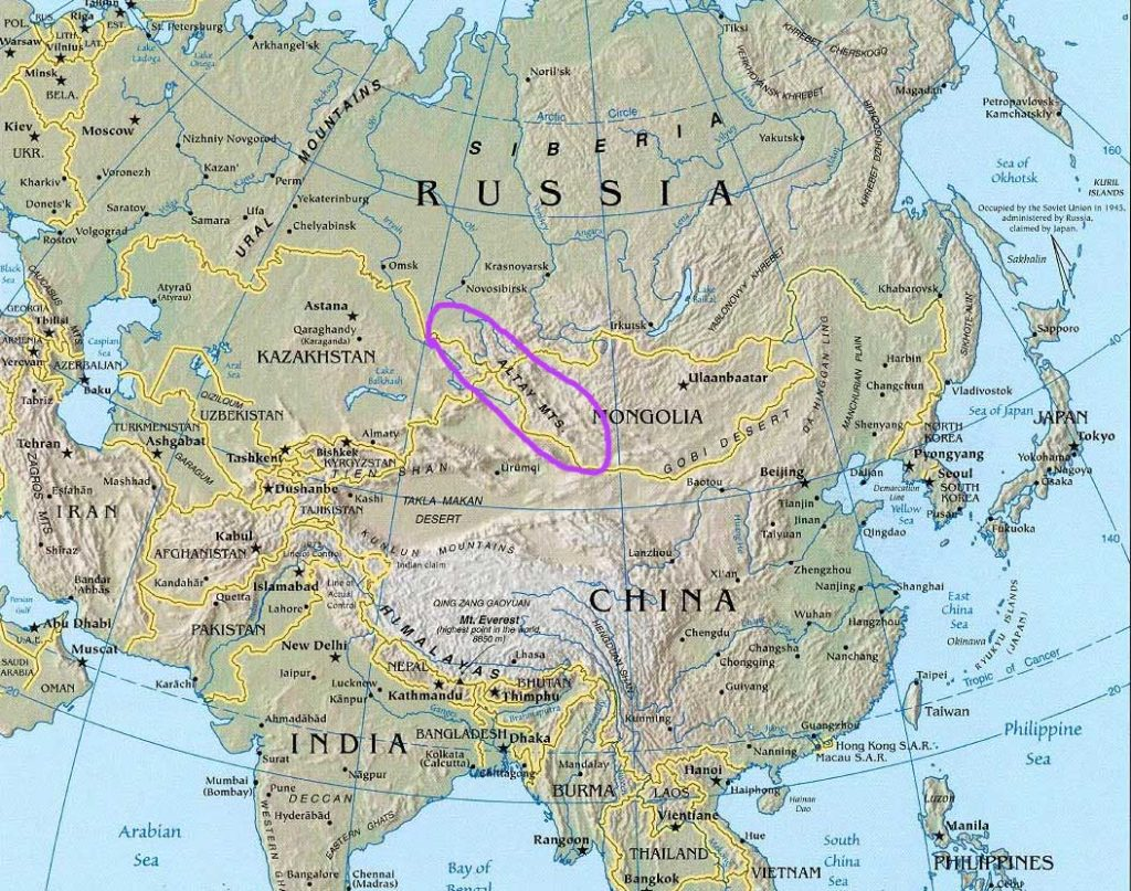 Altaï - Asie - Carte