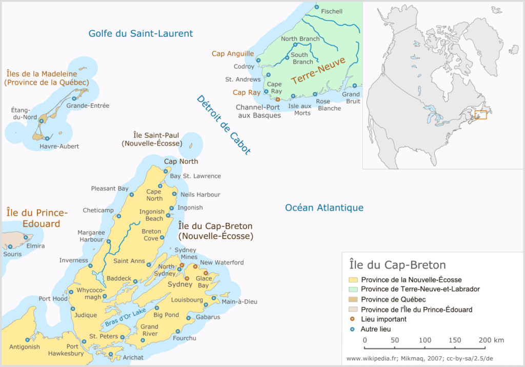 Ile du Cap Breton - Carte