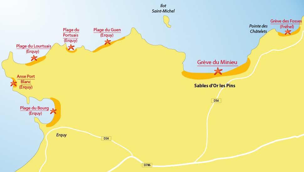 Carte des plages des Sables d'or les Pins