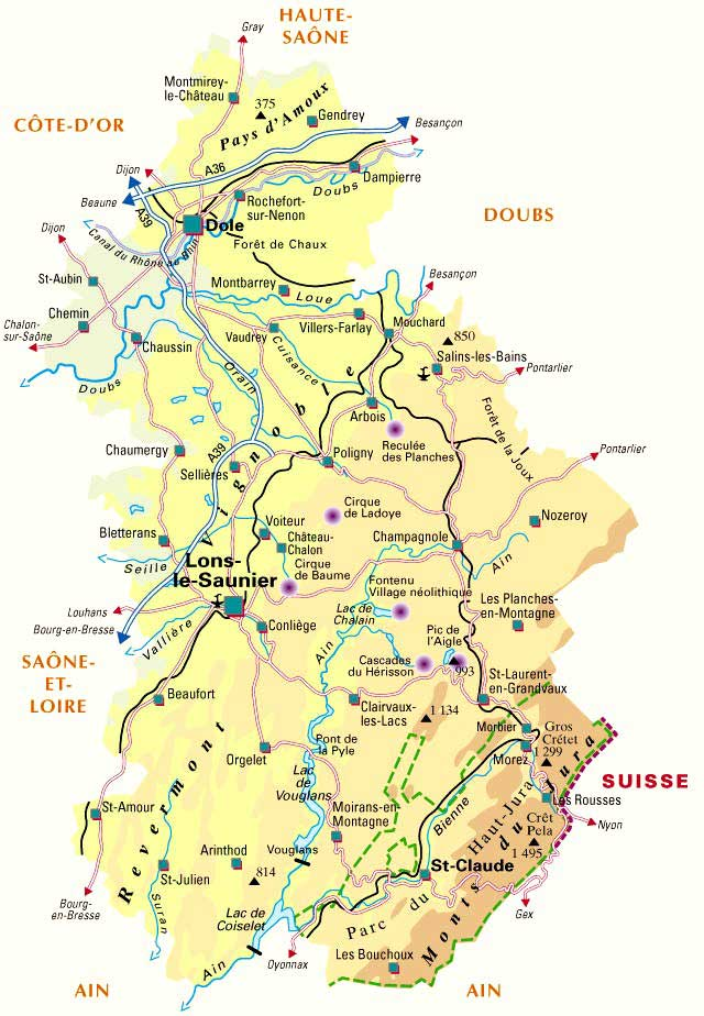 Carte du Jura - 39