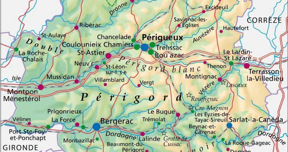 Carte de la Dordogne