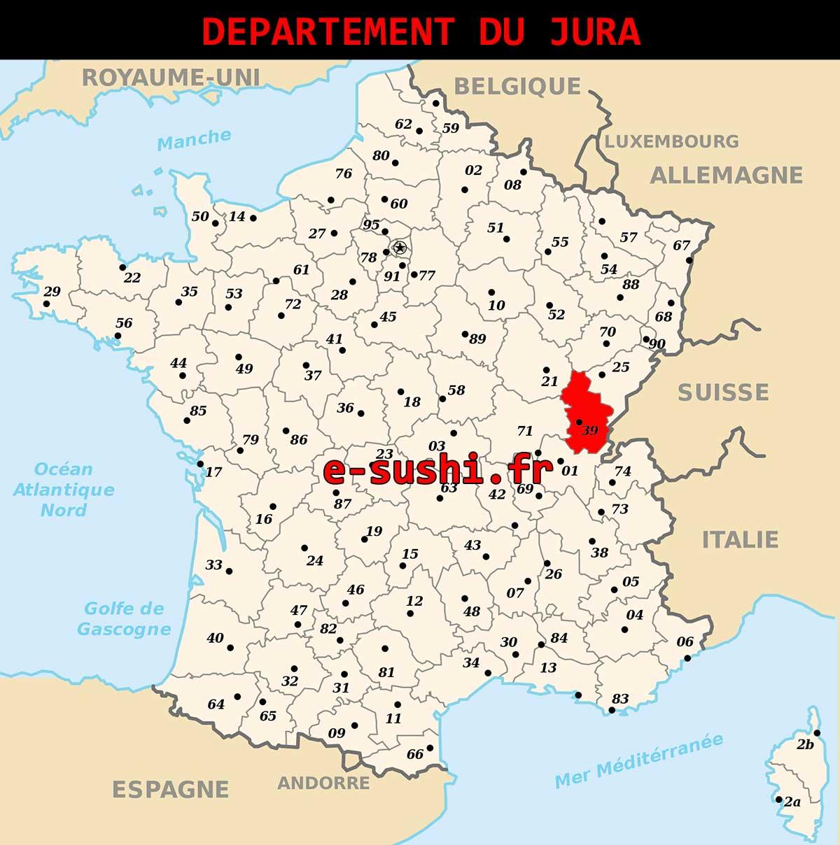 Carte - Département Jura - Arts et Voyages