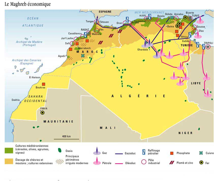 Carte géographique du Maghreb - Economie