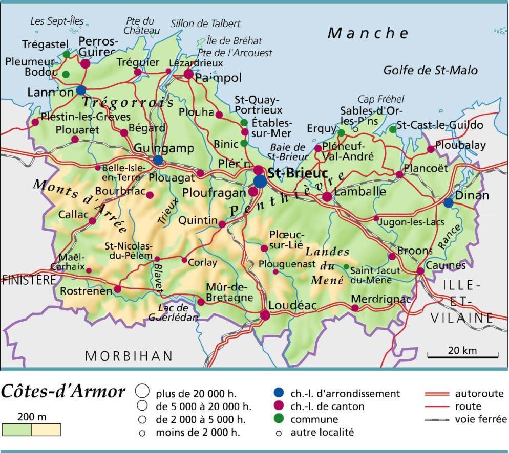 Carte Côtes-d'Armor