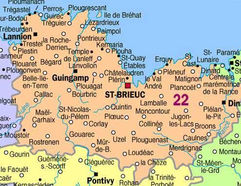 cote d armor carte détaillée Carte des Côtes d Armor   Arts et Voyages