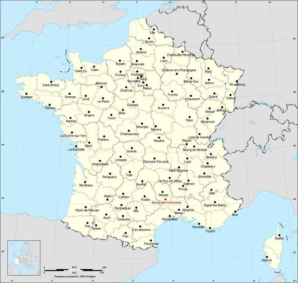 Carte de France Barre-des-Cevennes