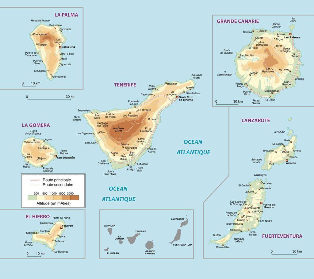 Archipel Iles Canaries - Carte détaillée