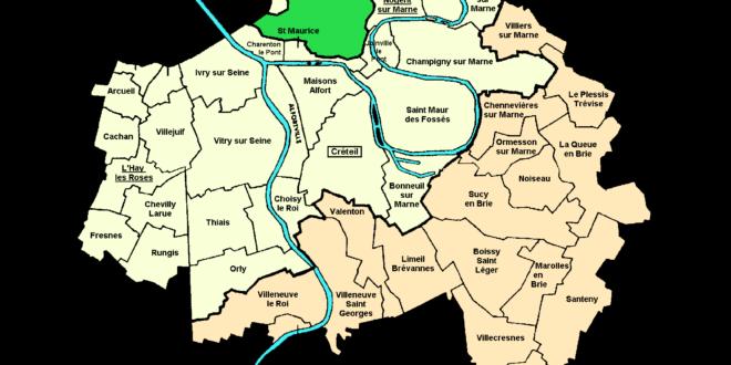Carte du département du Val de Marne